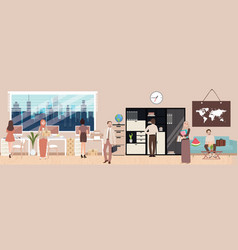 Office situation employee working interior vector