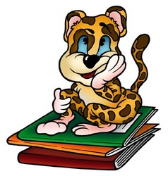 Leopard and workbooks vector