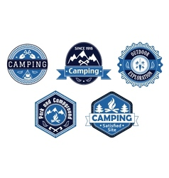 Camping emblems and labels for travel design vector image