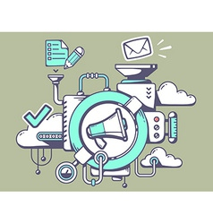 Mechanism with megaphone and office icons vector