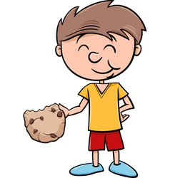 Boy with cookie cartoon vector