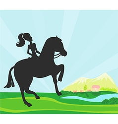 Girl jumping with horse vector