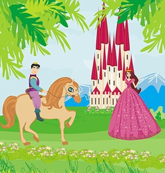 Prince riding a horse to the princess vector