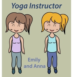 Yoga instructor sport stretch thin vector