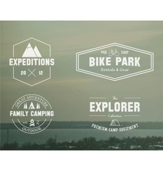 Set of summer explorer family camp badge logo vector