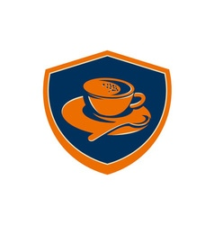 Coffee cup teaspoon crest retro vector