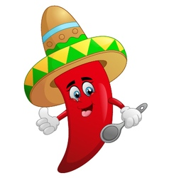 Cute chili cartoon vector image
