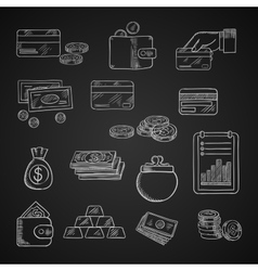 Finance business and money chalk icons vector image
