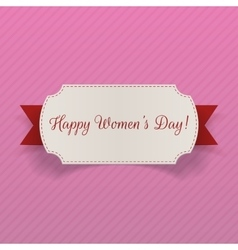 Womens day march 8 greeting card with ribbon vector