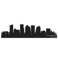 Phoenix arizona skyline detailed silhouette vector