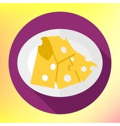 Icon of cut cheese piece vector