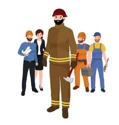Professions firefighter man worker peoples team vector