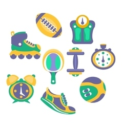 Sports and fitness equipment objects set vector