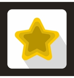 Golden shiny star icon flat style vector