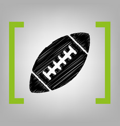 American simple football ball black vector