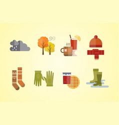 autumn clothes set items the fall tree clouds cold vector image vector image