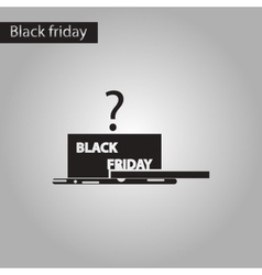 Black and white style icon gift box black friday vector