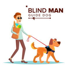 Blind man person with pet dog companion vector