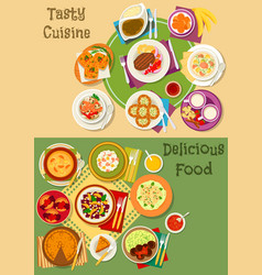 british thai and finnish cuisine icon set design vector image vector image