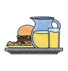 Burguer and jar juice vector