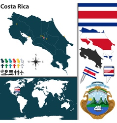 Costa Rica map world vector image vector image