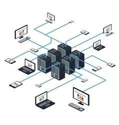 Data isometric set and network elements vector image vector image
