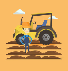 farmer standing with tractor on background vector image