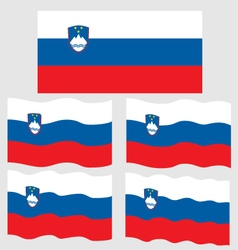Flat and waving flag of slovinia vector