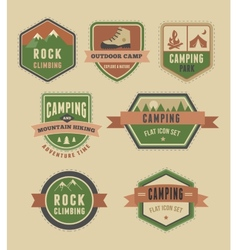 Hiking camp badges - set of icons and elements vector image vector image