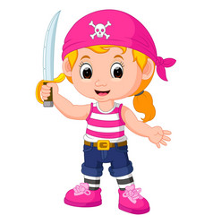Kids girl pirate cartoon vector