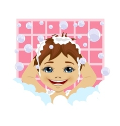 little boy washing his hair with soap foam vector image