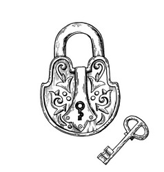 lock and key engraving vector image vector image