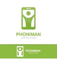 Man and phone logo concept vector