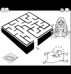 maze activity game with cinderella vector image