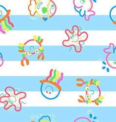 Neon sea life on stripes vector