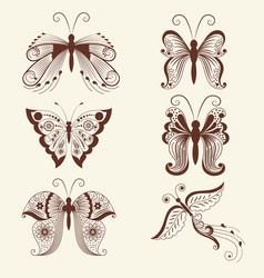 Of butterflies in mehndi ornament vector