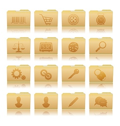 Set of folders with symbols vector image vector image