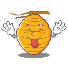 Tongue out bee hive character cartoon vector