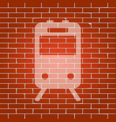 Train sign whitish icon on brick wall as vector
