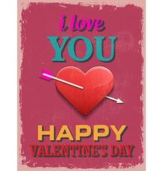 Valentines day poster retro vintage design i love vector