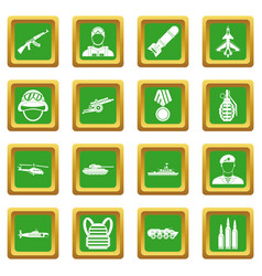 War icons set green vector