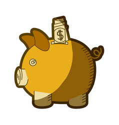 Yellow aged silhouette of moneybox in shape of pig vector