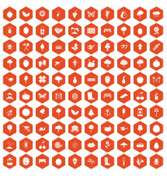 100 gardening icons hexagon orange vector