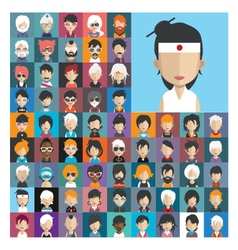 Set of people icons in flat style with faces 24 a vector