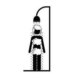 monochrome pictogram of the woman in the shower vector image