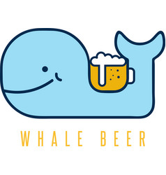 Whale with negative space beer mug design template vector