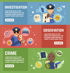 Private detective banners set vector