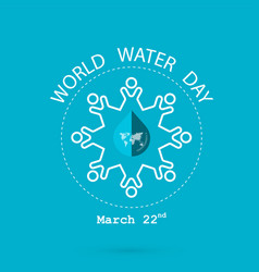 Water drop and world map with people icon logo vector