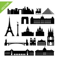 Paris france landmark silhouettes vector