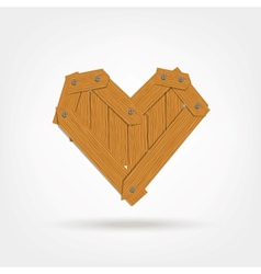 Wooden boards heart shape vector
